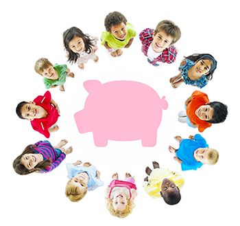 Babies holding money gathered around piggy bank